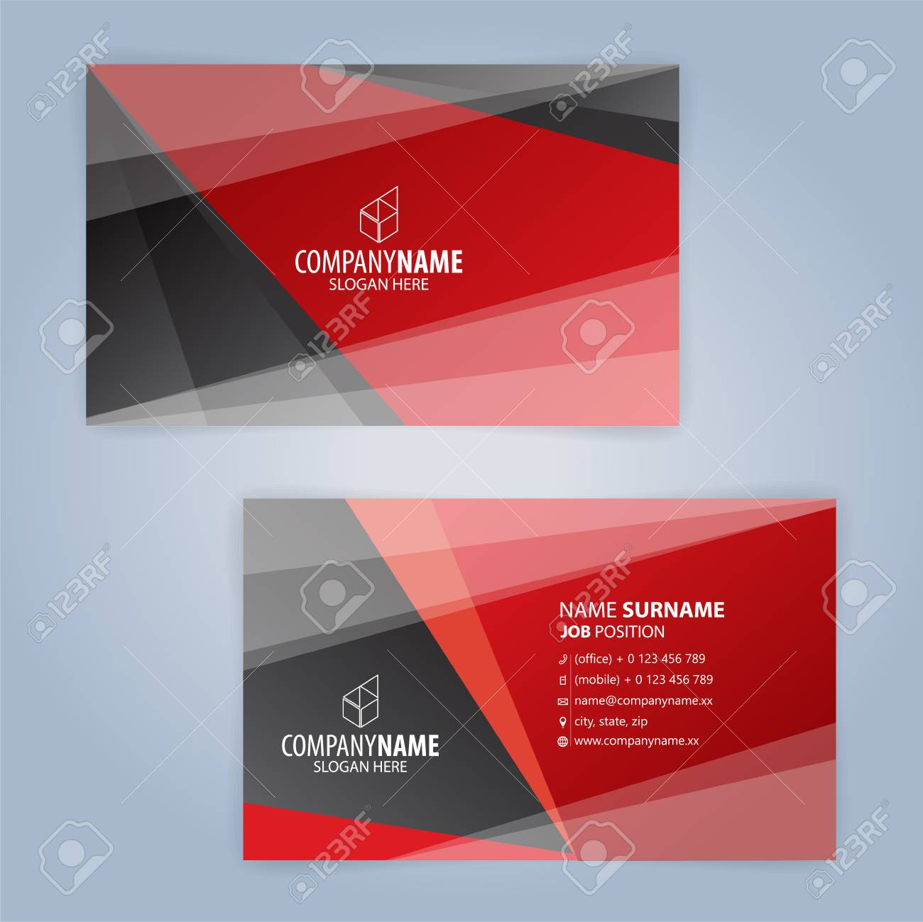 Red And Black Modern Business Card Template Illustration Vector 10