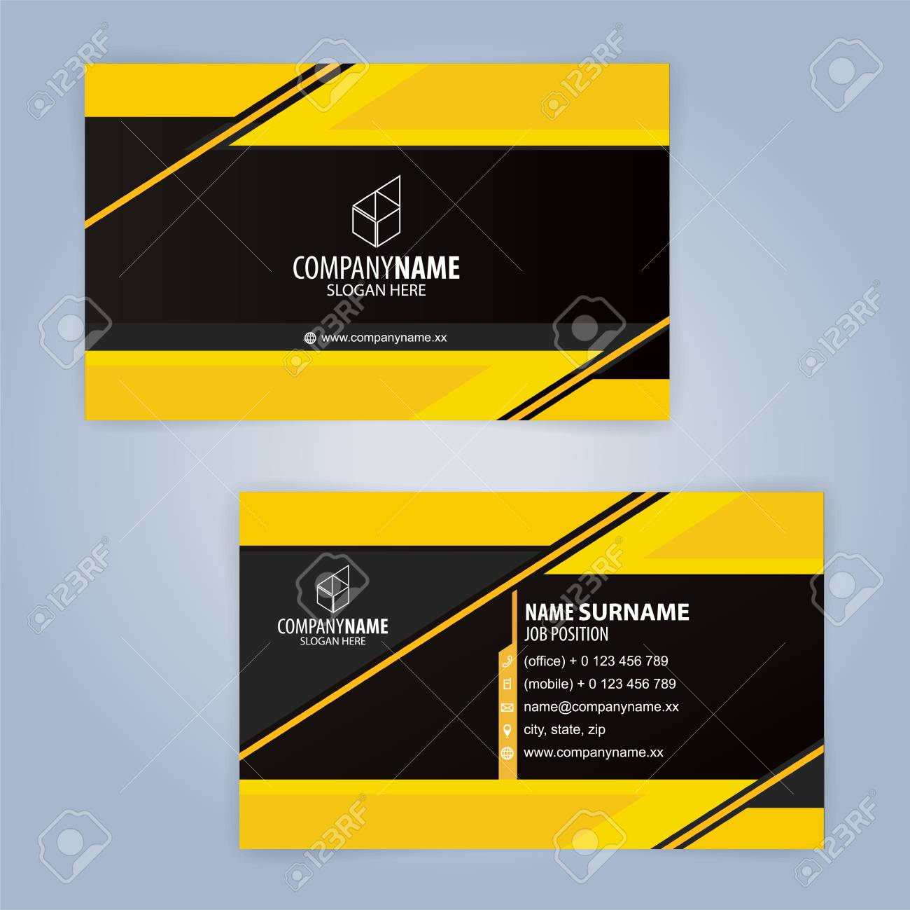 Yellow and black modern business card template illustration vector banco de imagens yellow and black modern business card template illustration vector 10 reheart Images