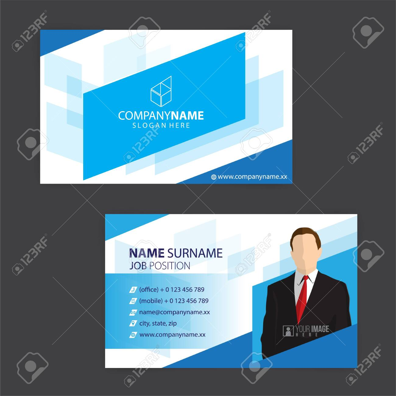 blue and white business cards design, vector - 148426186