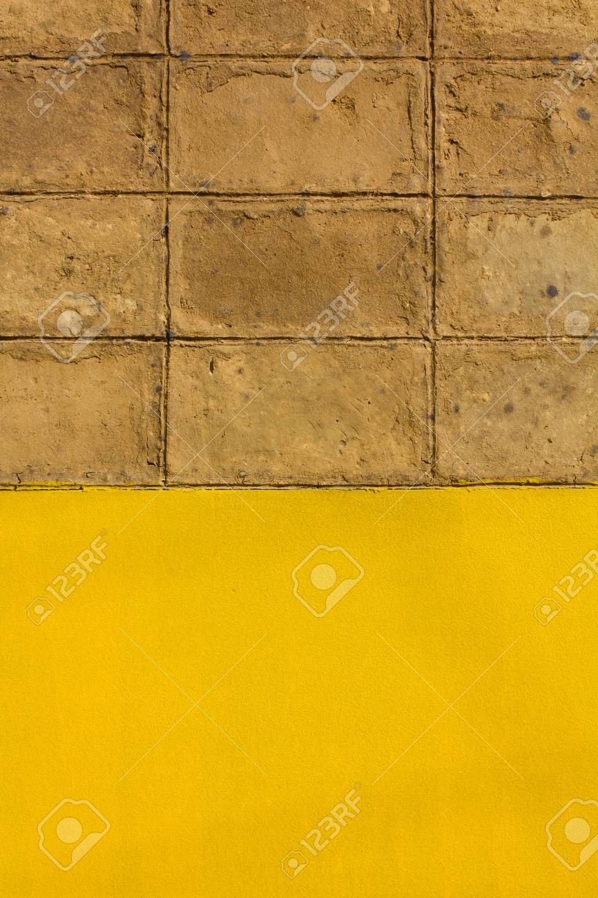 Walls Of Brown Clay. Located On The Cement Walls Are Yellow. Stock ...