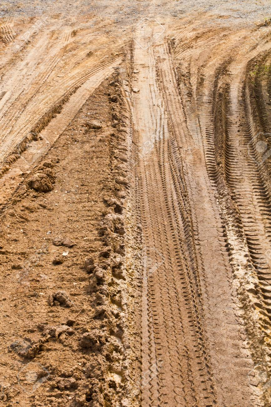 traces wheel vehicles on the road surface clay roadbed Stock Photo - 22871053