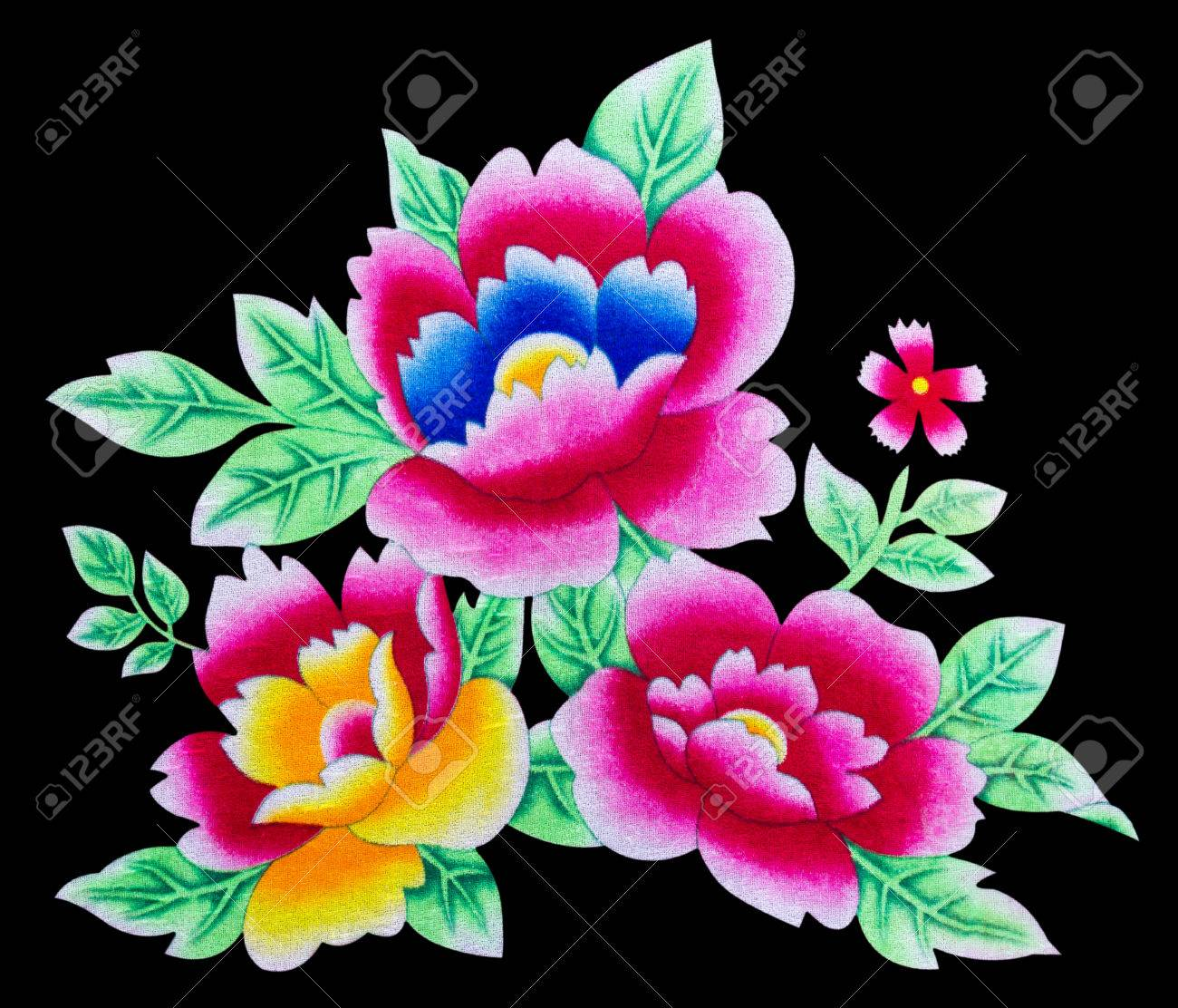 Isolates of beautiful flowers painted on the surface of the fabric isolates of beautiful flowers painted on the surface of the fabric stock photo 25866898 izmirmasajfo