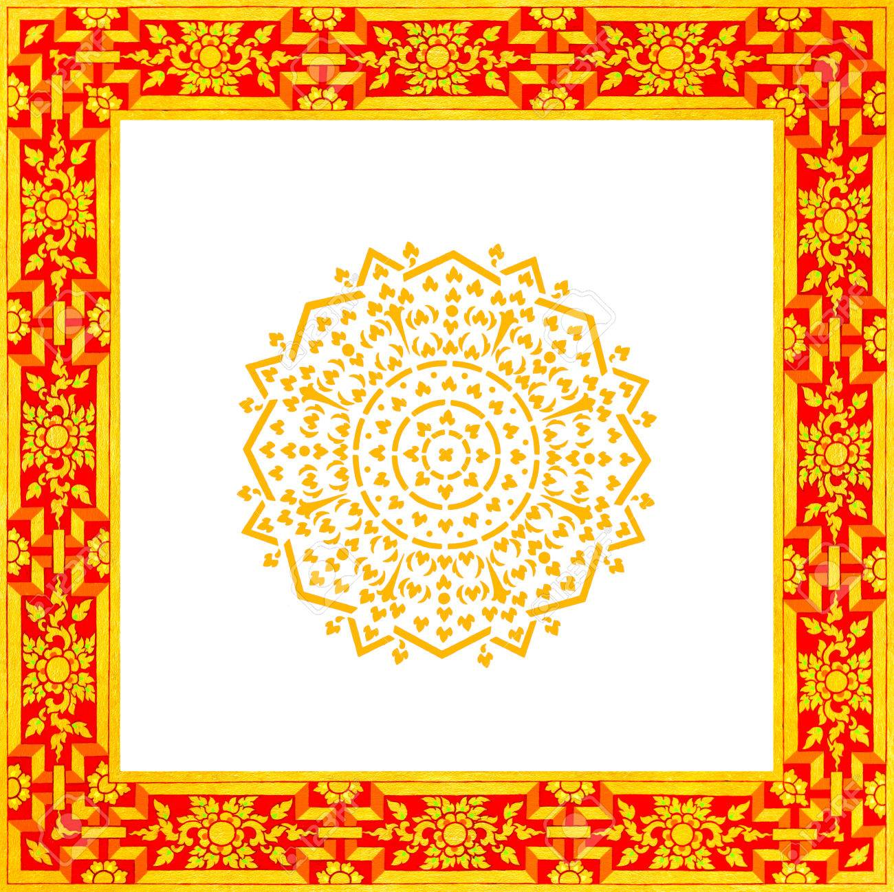 Thailand Flower Pattern Octagon In A Square Gold Frame Stock Photo ...
