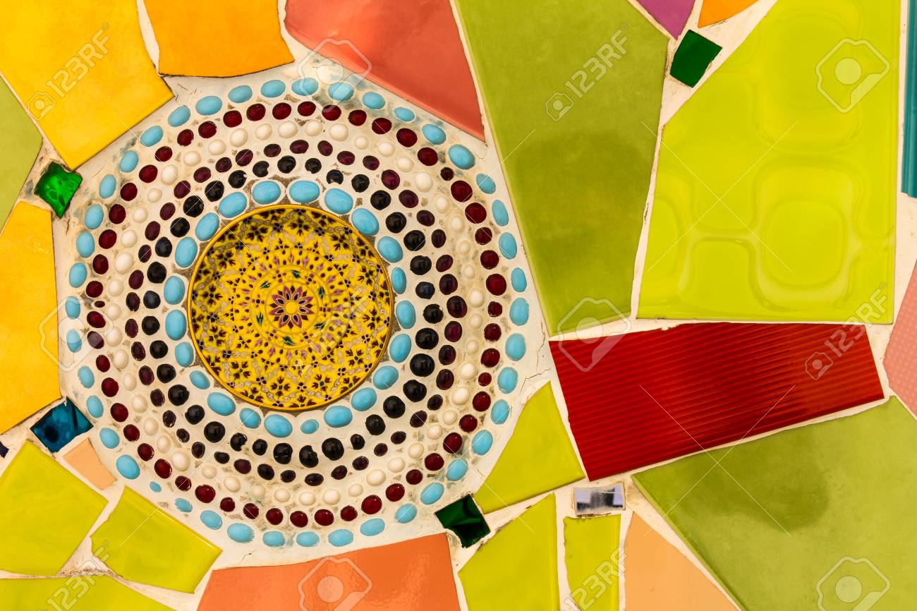 Background Wall Tiles Cracked Plate With Colorful Exotic Patterns ...