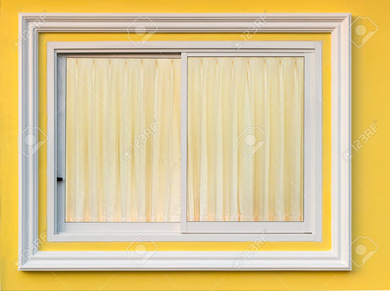 Close-up Background A Window Of White Concrete Framing In A Yellow ...