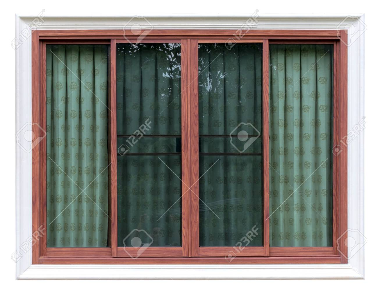 Isolate Close Up Picture Background Of Wooden Window Frame In