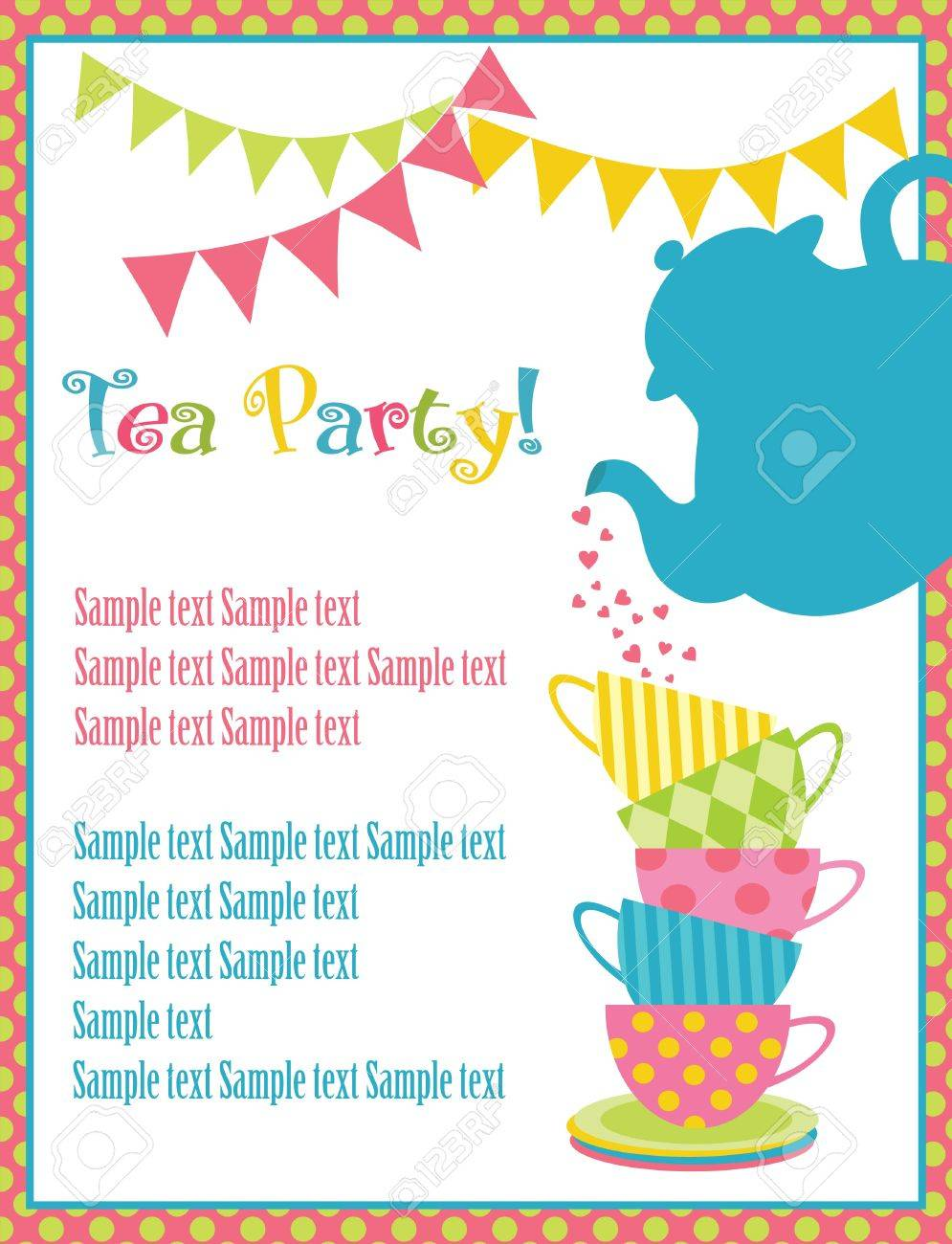 2,049 Tea Party Invitation Stock Vector Illustration And Royalty ...