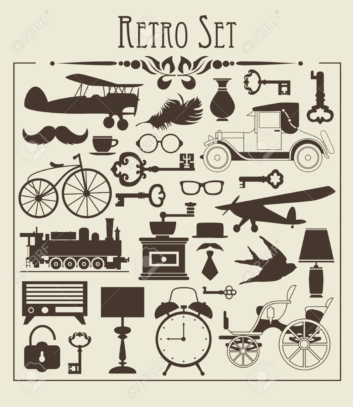 retro objects set vector illustration - 19252333