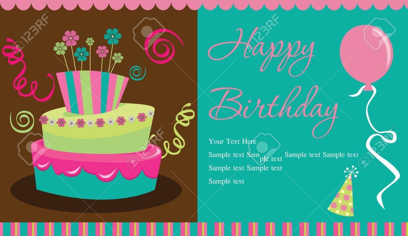 Happy Birthday Cake Card Design Vector Illustration Royalty Free
