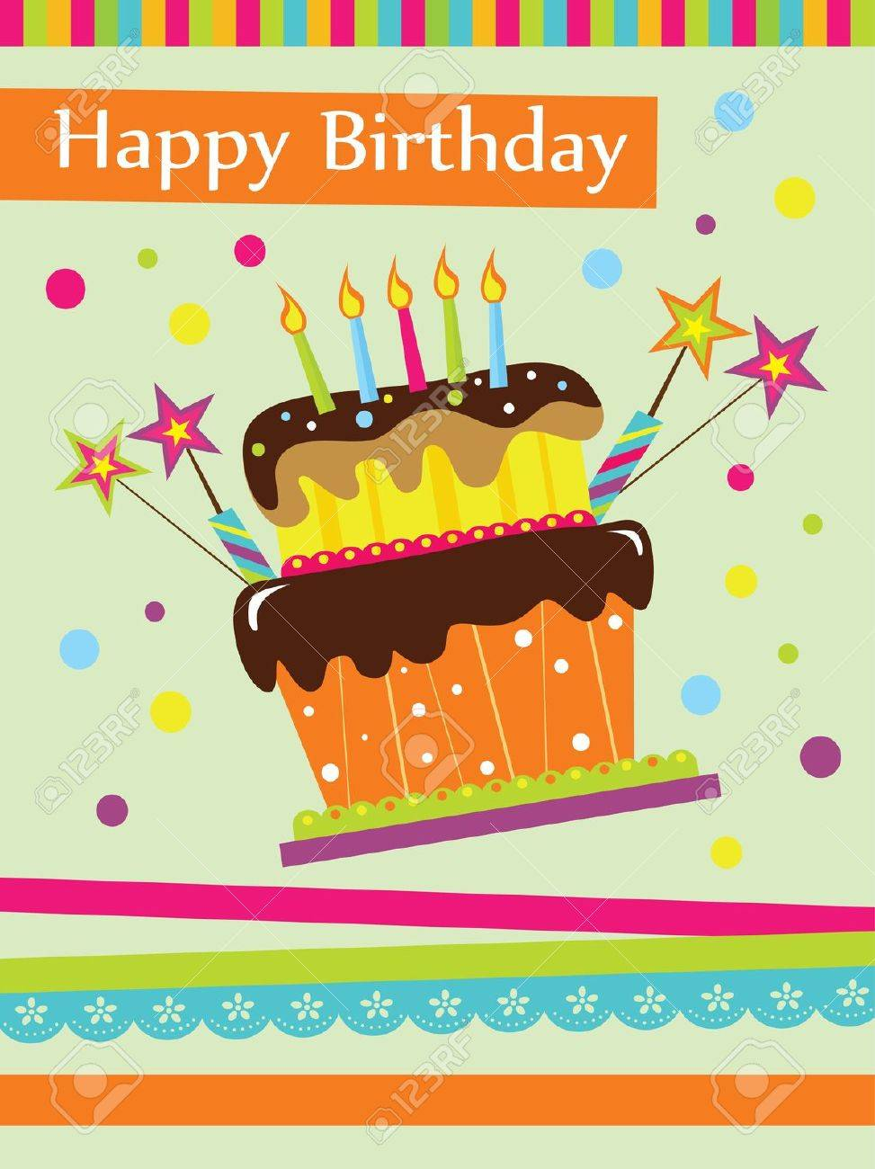Happy Birthday Cake Card Design Vector Illustration Royalty Free – Happy Birthday Cake Greetings