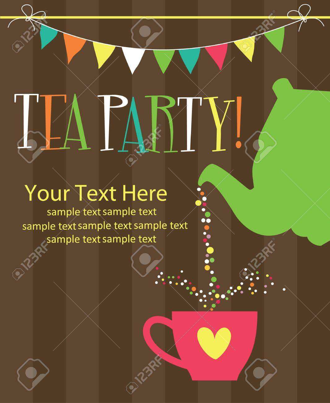 Tea Party Card Design Vector Illustration Royalty Free Cliparts – Party Invitation Card Design