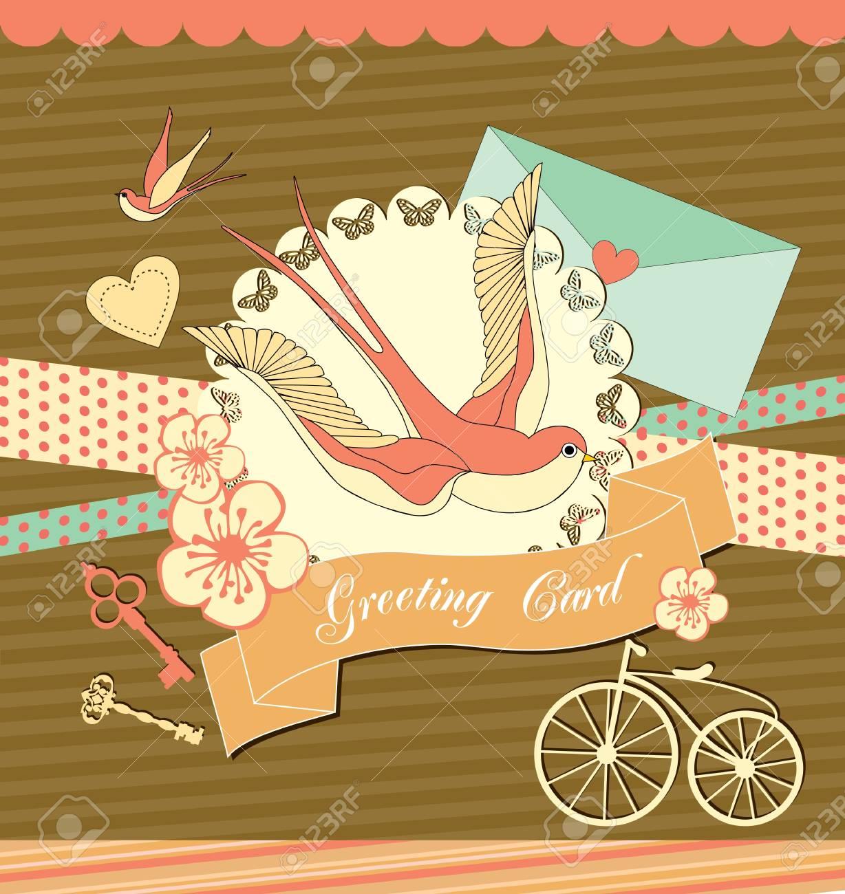 ツバメ ベクトル イラストがかわいいレトロなカードのイラスト素材