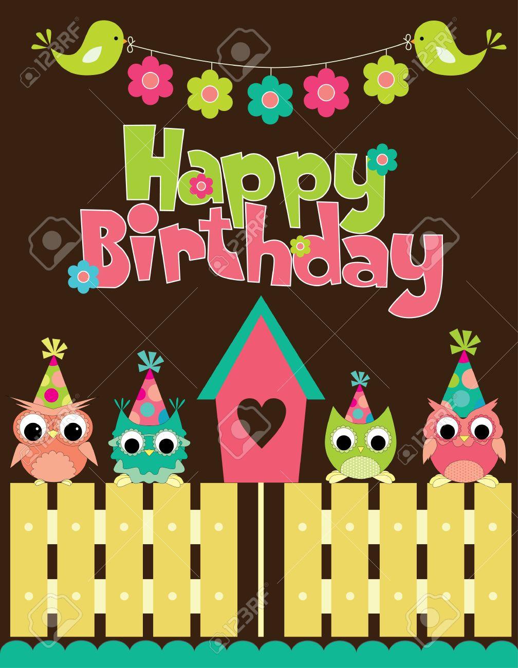 Happy Birthday Card Design. Vector Illustraton Royalty Free ...