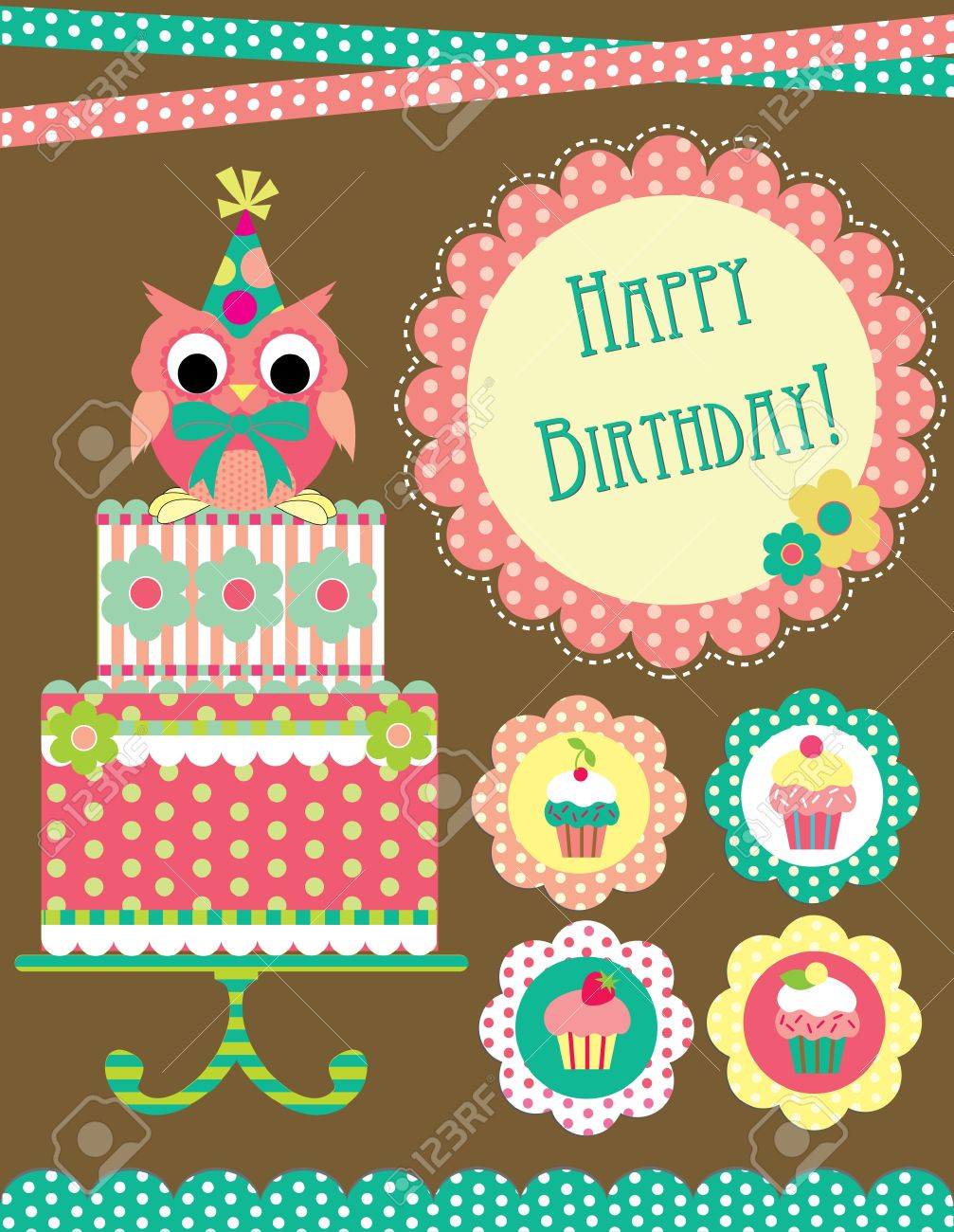 Happy Birthday Card Design Vector Illustraton Royalty Free – Happy Birthday Card Design Free