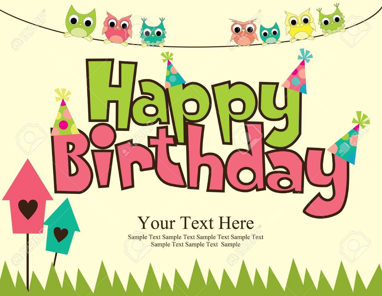 Happy Birthday Card Design Vector Illustraton Stock