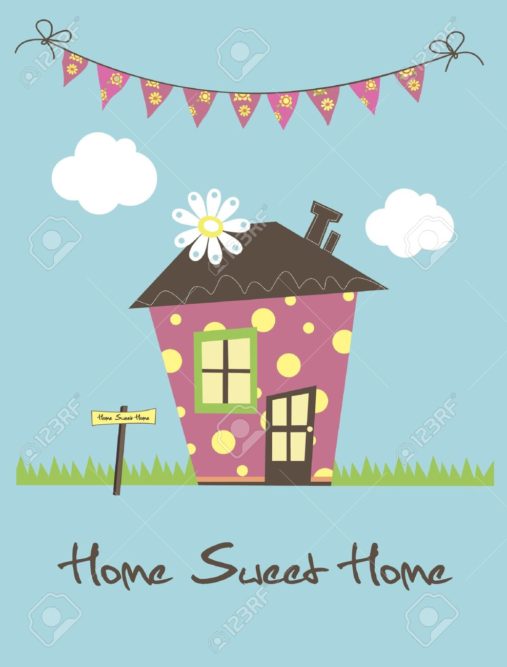 1ef2e5c7f891 Home Sweet Home Card Illustration Royalty Free Cliparts, Vectors ...