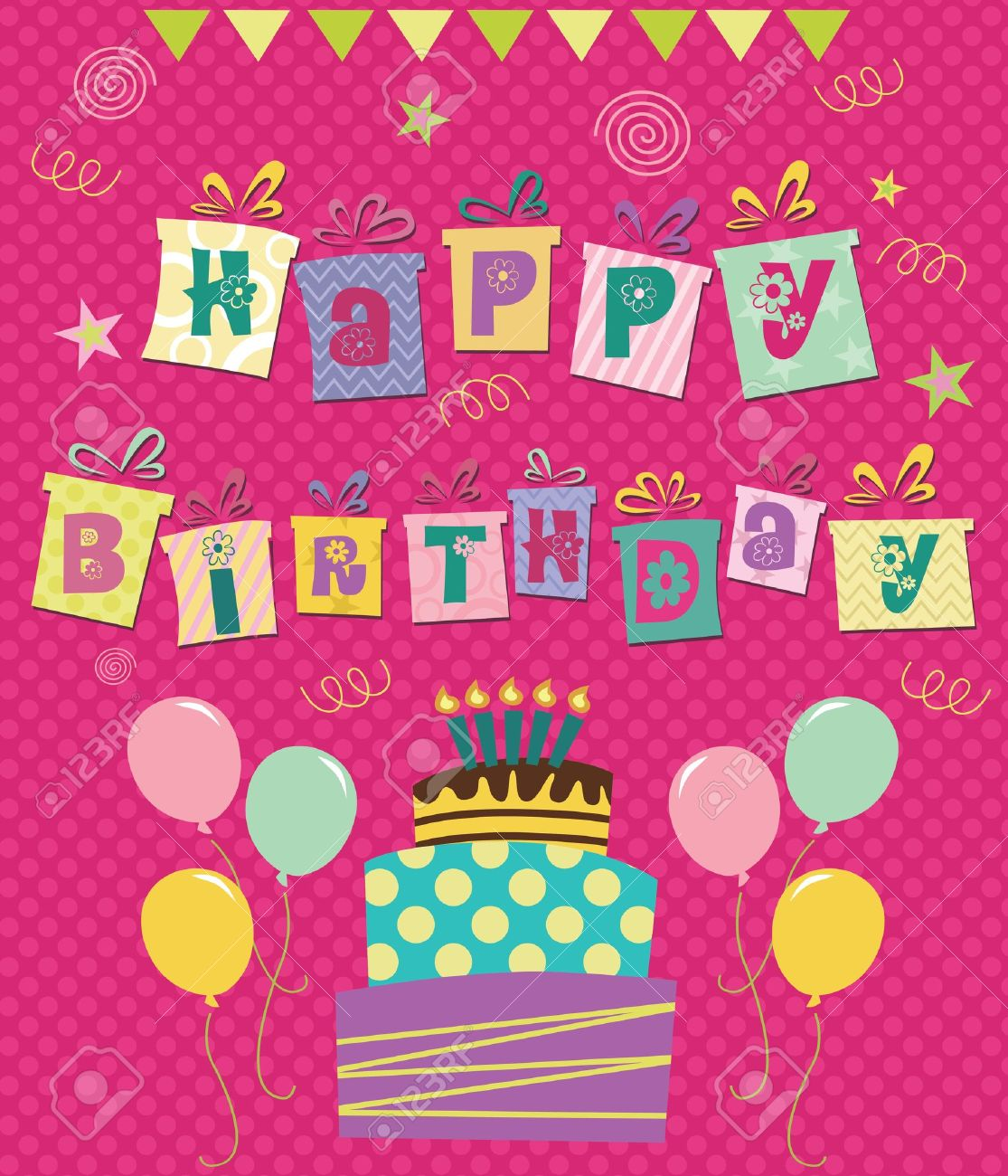 Happy birthday greeting card illustration royalty free cliparts happy birthday greeting card illustration stock vector 20855084 m4hsunfo