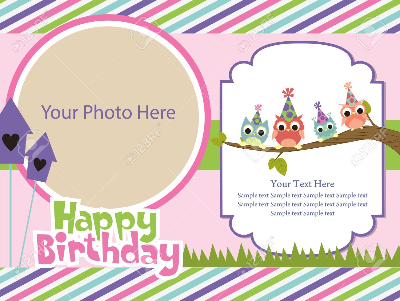 Happy Birthday Invitation Card Design. Vector Illustration Royalty ...
