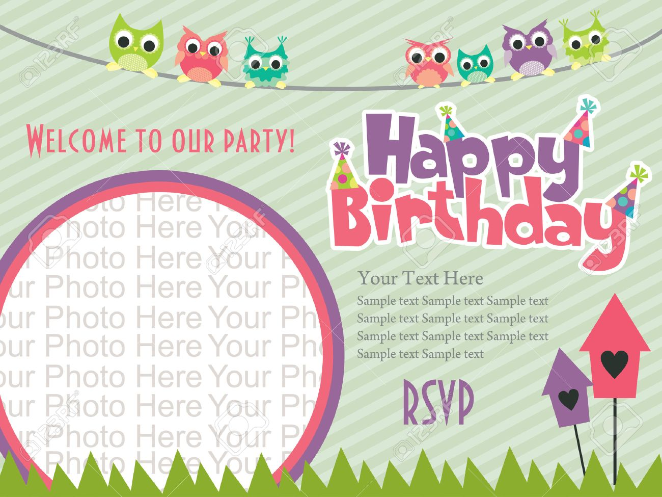 Happy Birthday Invitation Card Design Vector Illustration Royalty