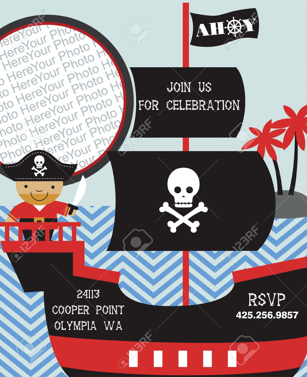 Pirate Party Invitation Card With Place For Photo Vector – Pirate Party Invitation