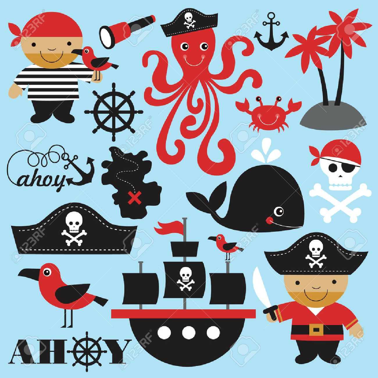 cute pirate objects collection. vector illustration Stock Vector - 26905092