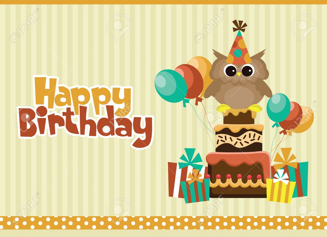 Happy Birthday Card Design Vector Illustration Royalty Free – Happy Birthday Card Design Free