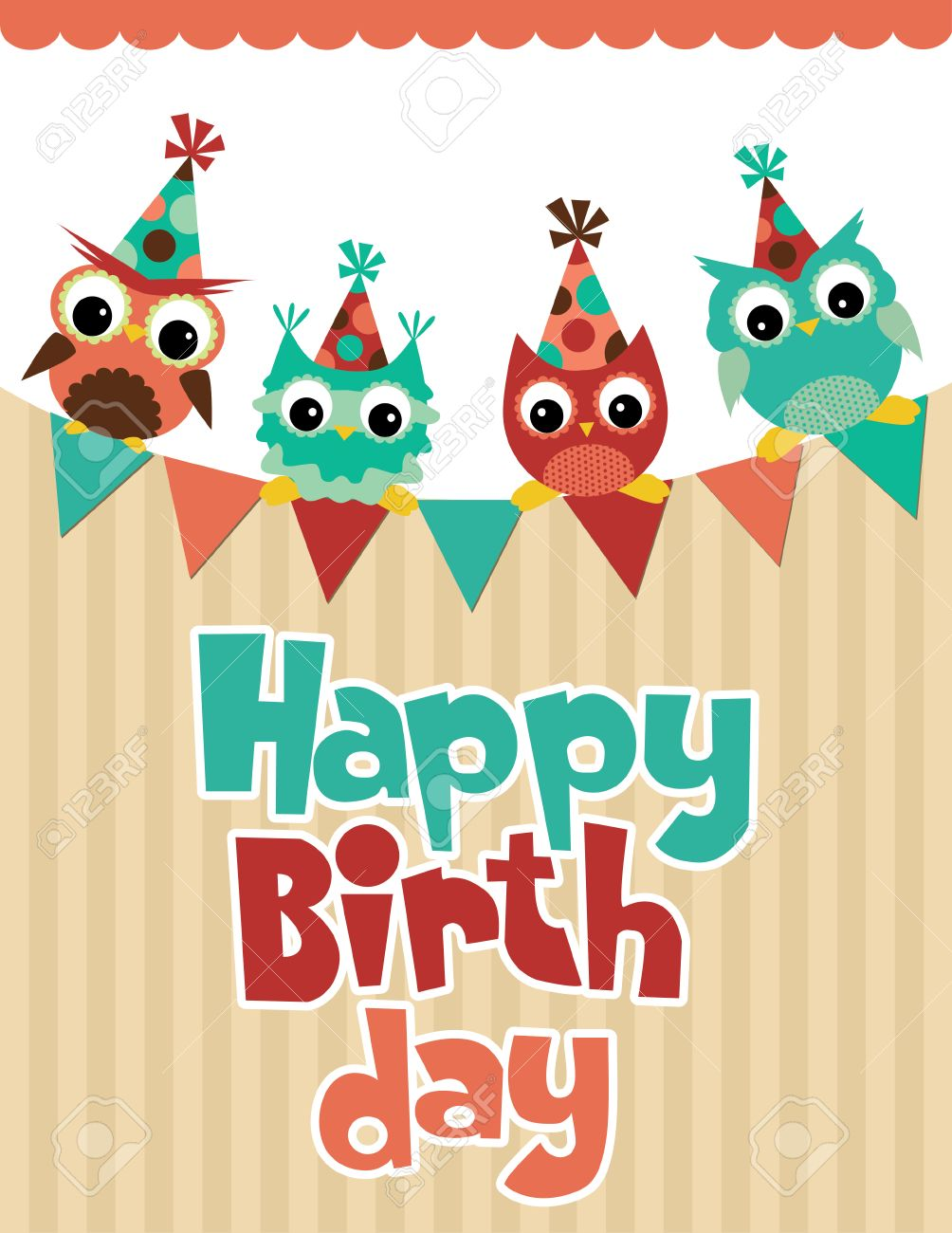 Happy Birthday Card Design Vector Illustration Royalty Free