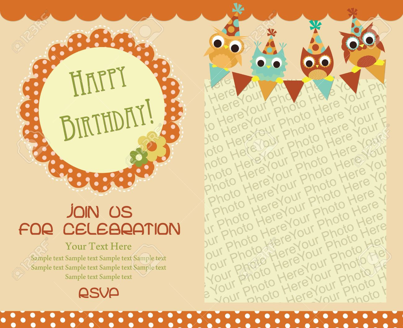 Happy Birthday Invitation Card Design. Vector Illustration Royalty ...