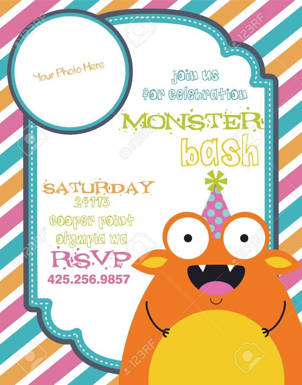 monster party invitation card design. vector illustration Stock Vector - 26906588