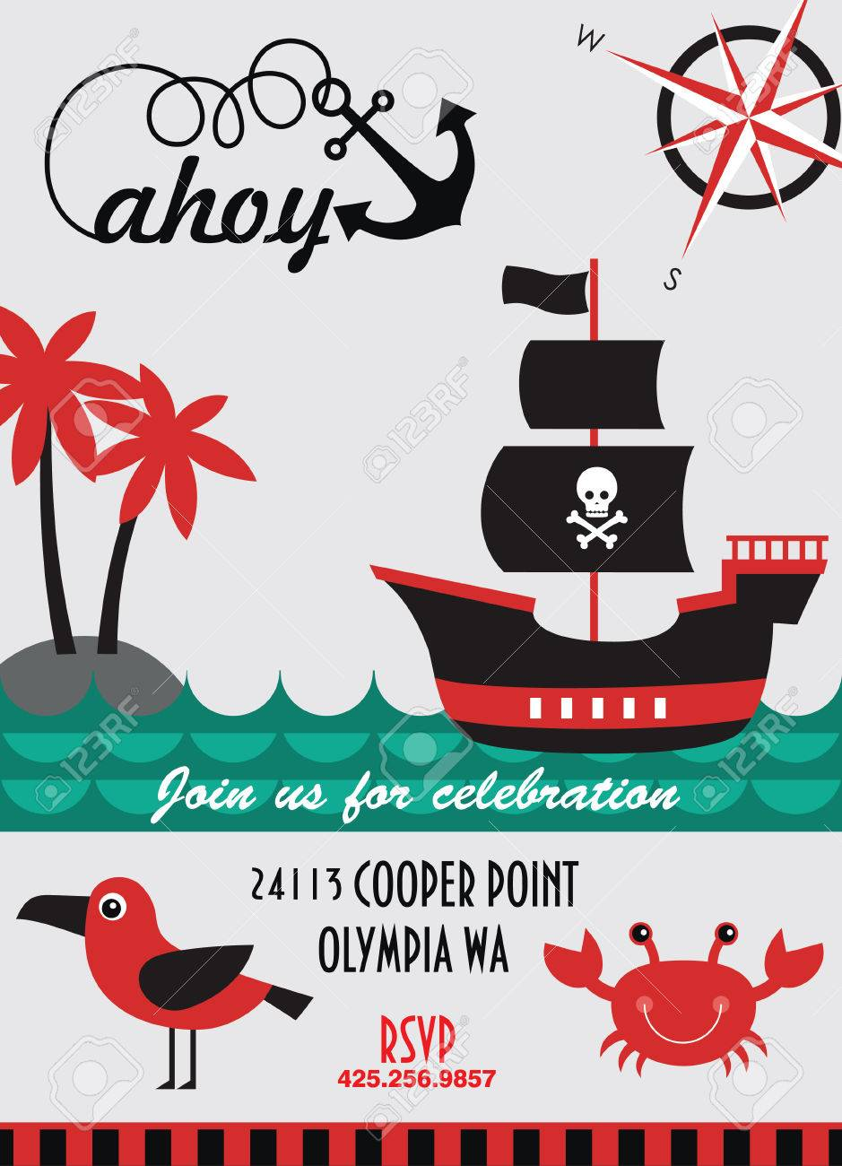 Pirate party invitation card design vector illustration royalty pirate party invitation card design vector illustration stock vector 26907878 stopboris