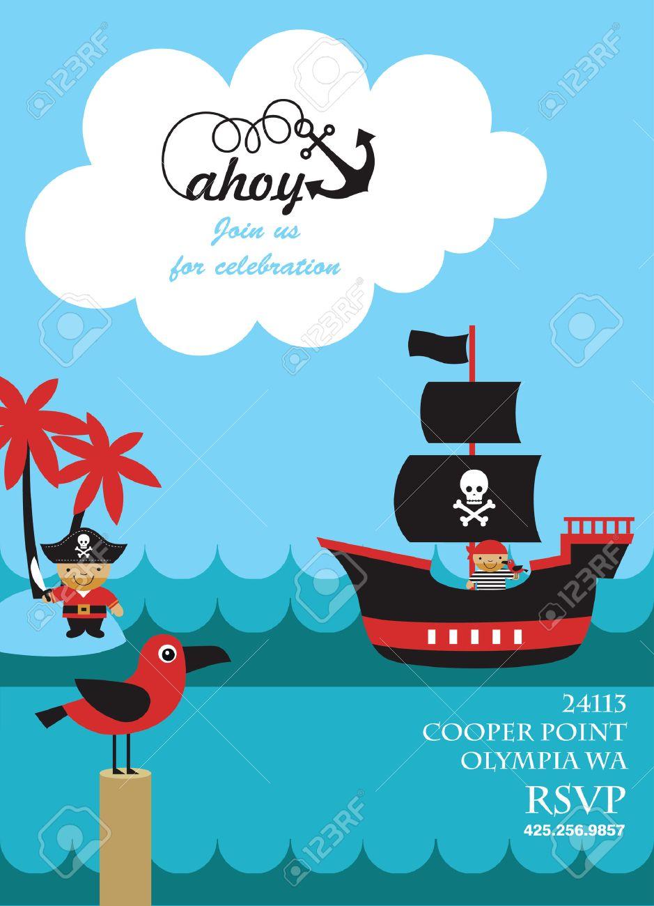Diseño De Tarjeta De Invitación De La Fiesta Pirata. Ilustración ...