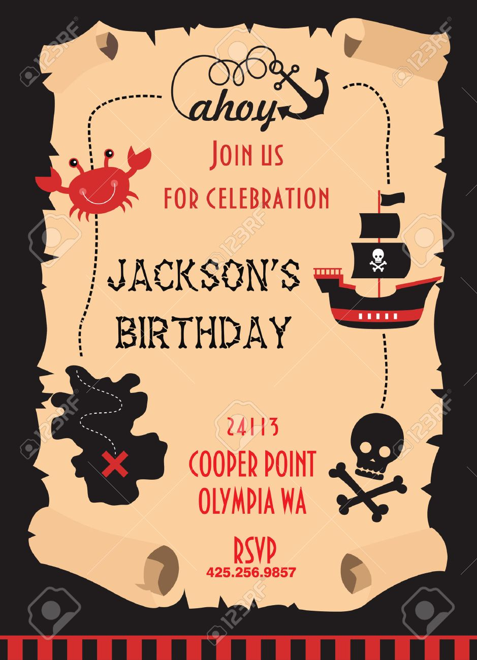 Pirate party invitation card design vector illustration royalty pirate party invitation card design vector illustration stock vector 26908004 stopboris Image collections