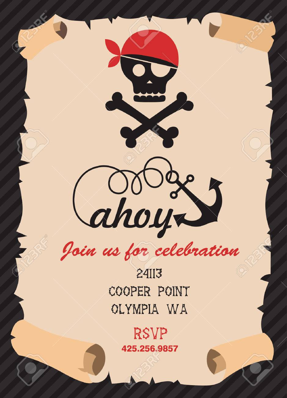 Pirate Party Invitation Card Design. Vector Illustration Royalty ...