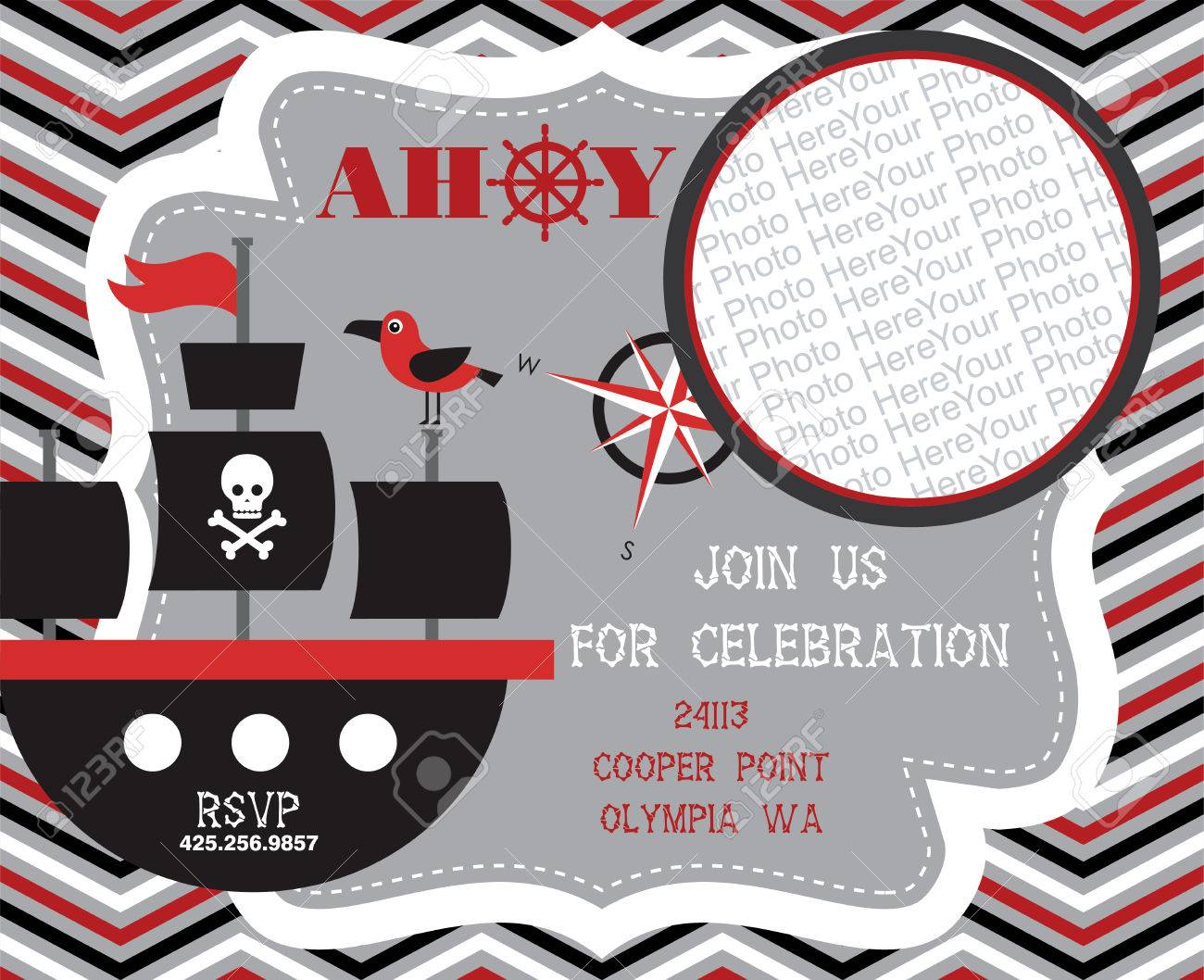 Pirate Party Invitation Card With Place For Photo. Vector ...