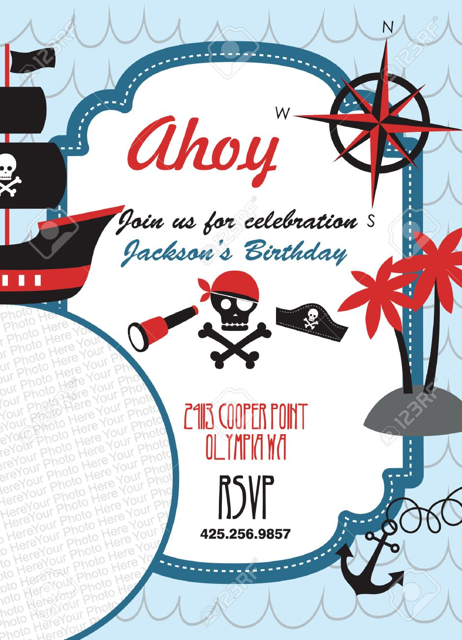 Pirate party invitation card with place for photo vector pirate party invitation card with place for photo vector illustration stock vector 26908014 stopboris