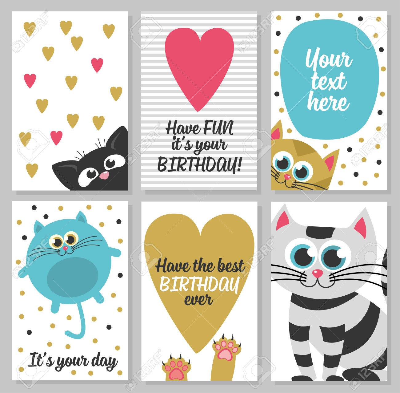 set of 6 cute creative cards templates with happy birthday theme