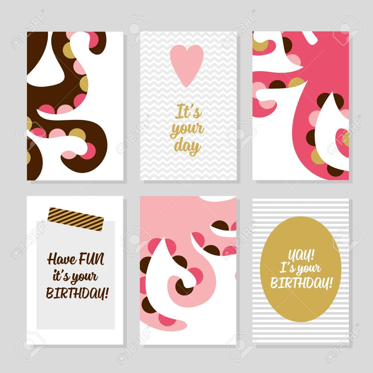 Conjunto De 6 Plantillas De Tarjetas Creativas Lindo Con Diseño De ...