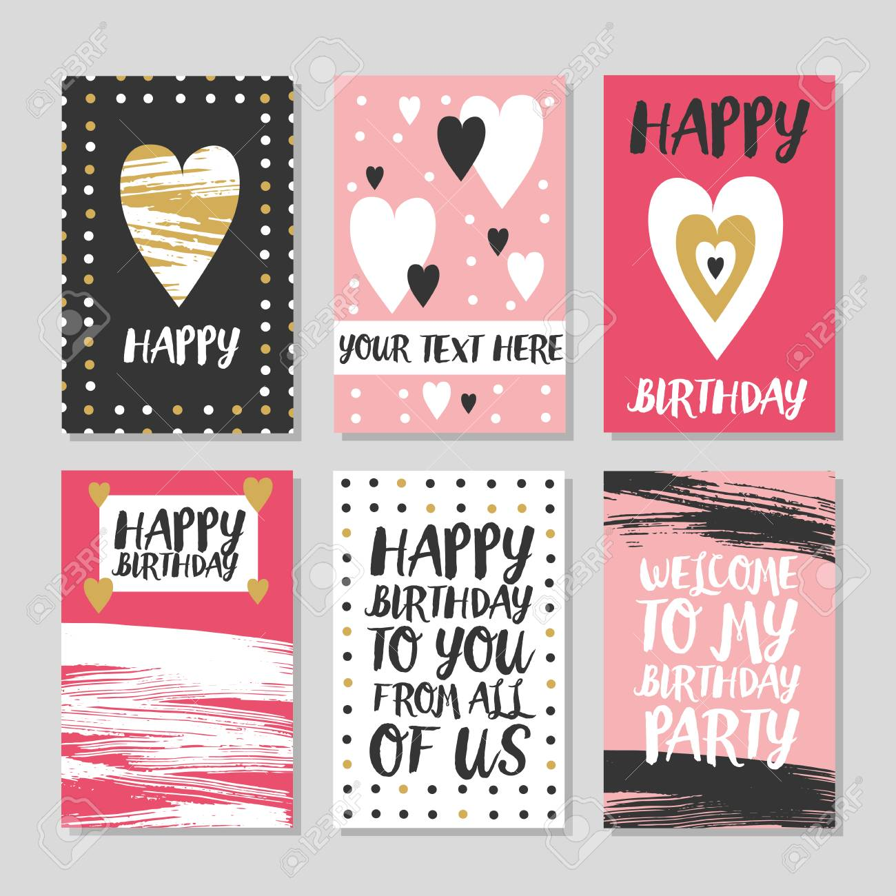 Set Of 6 Cute Creative Cards Templates With Happy Birthday Theme Design Hand Drawn Card