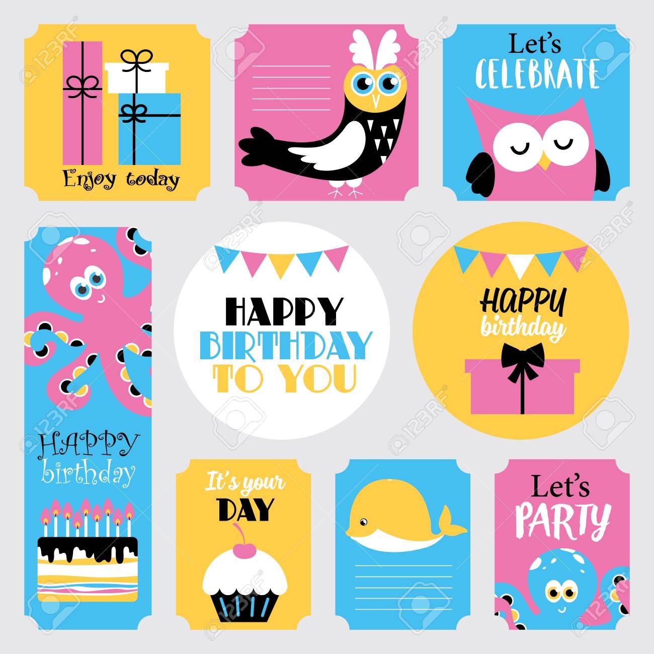 Cute happy birthday stickers set vector illustration stock vector 81112410