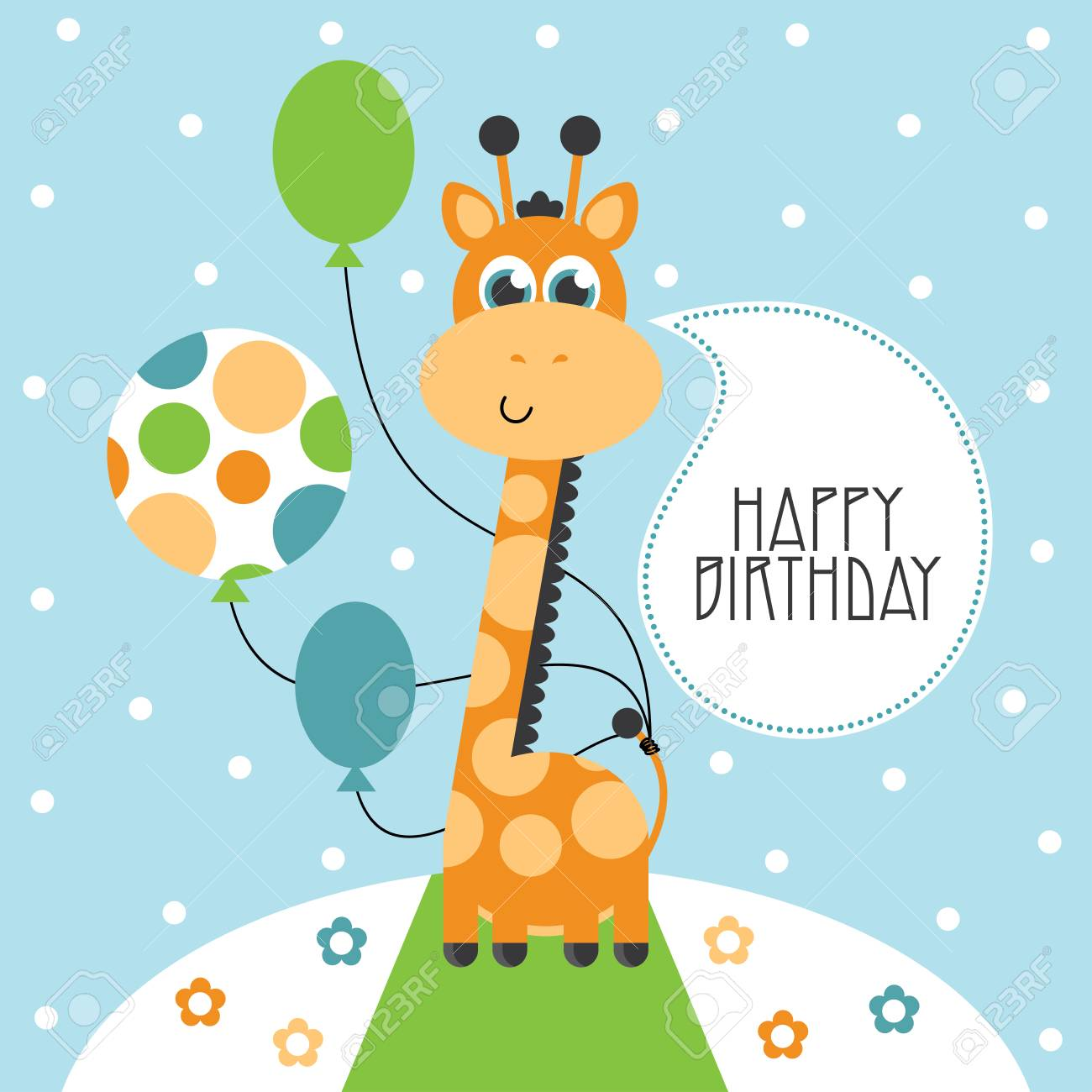 cute happy birthday card with nice giraffe royalty free cliparts
