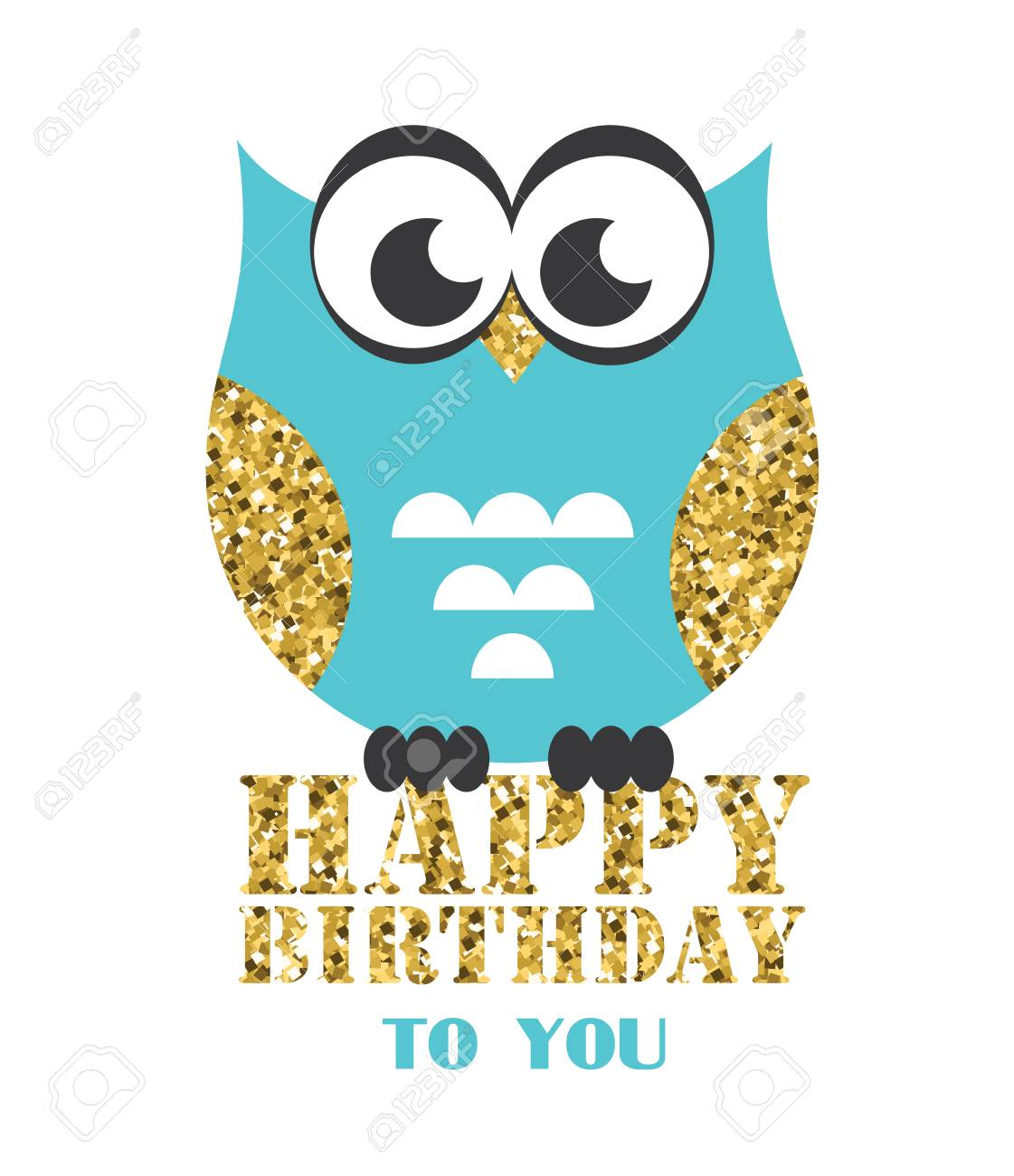 Happy Owl Birthday Card Design Vector Illustration Royalty Free