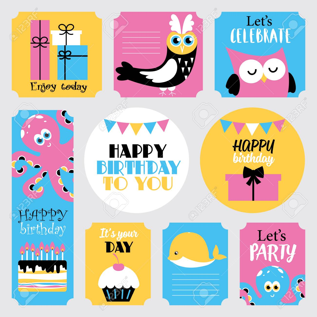 Cute happy birthday stickers set vector illustration stock vector 81047958