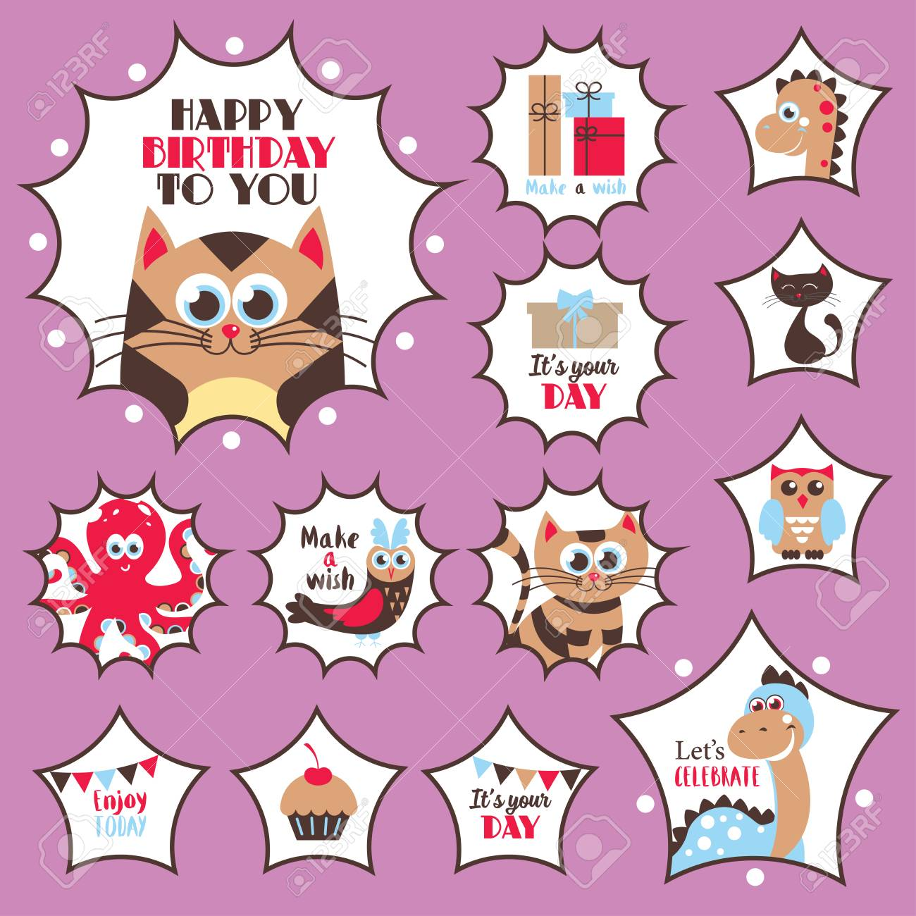 Cute happy birthday stickers set vector illustration stock vector 81047967