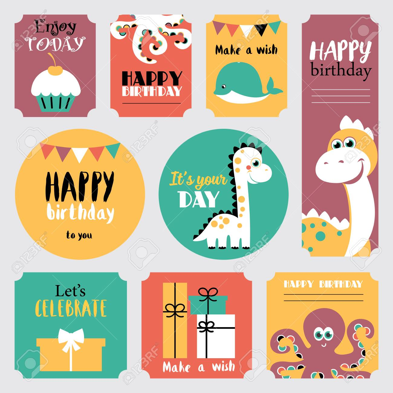 Cute happy birthday stickers set vector illustration stock vector 81047914