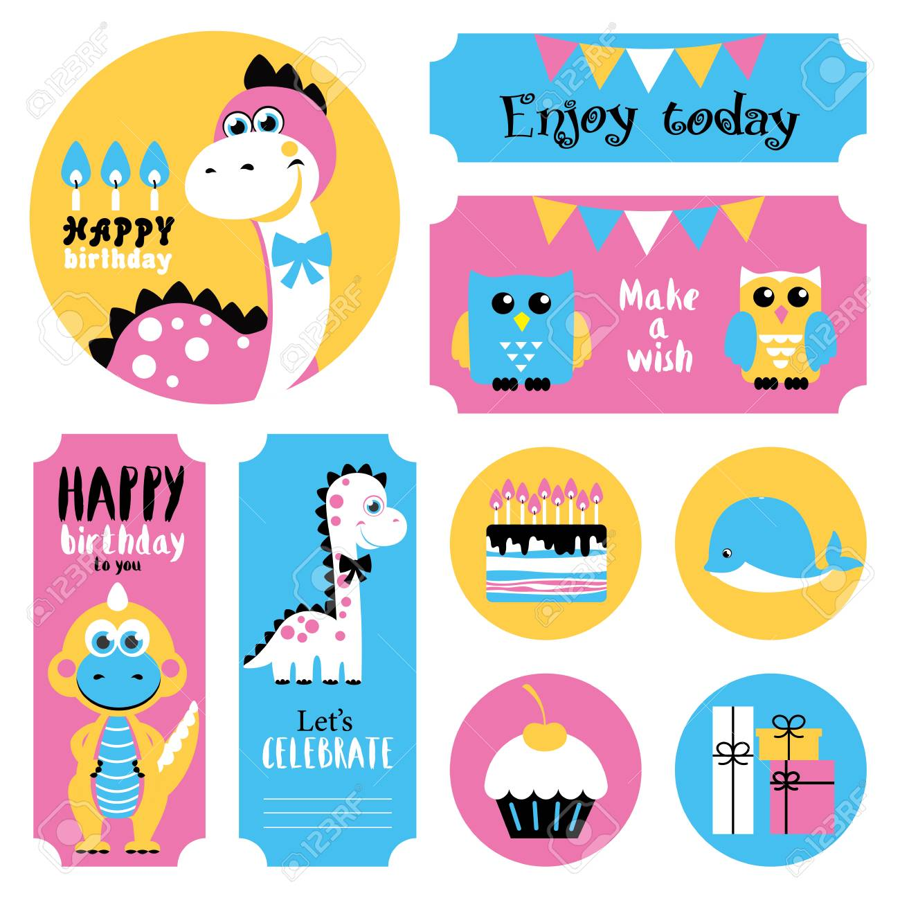Cute happy birthday stickers set vector illustration stock vector 80937276