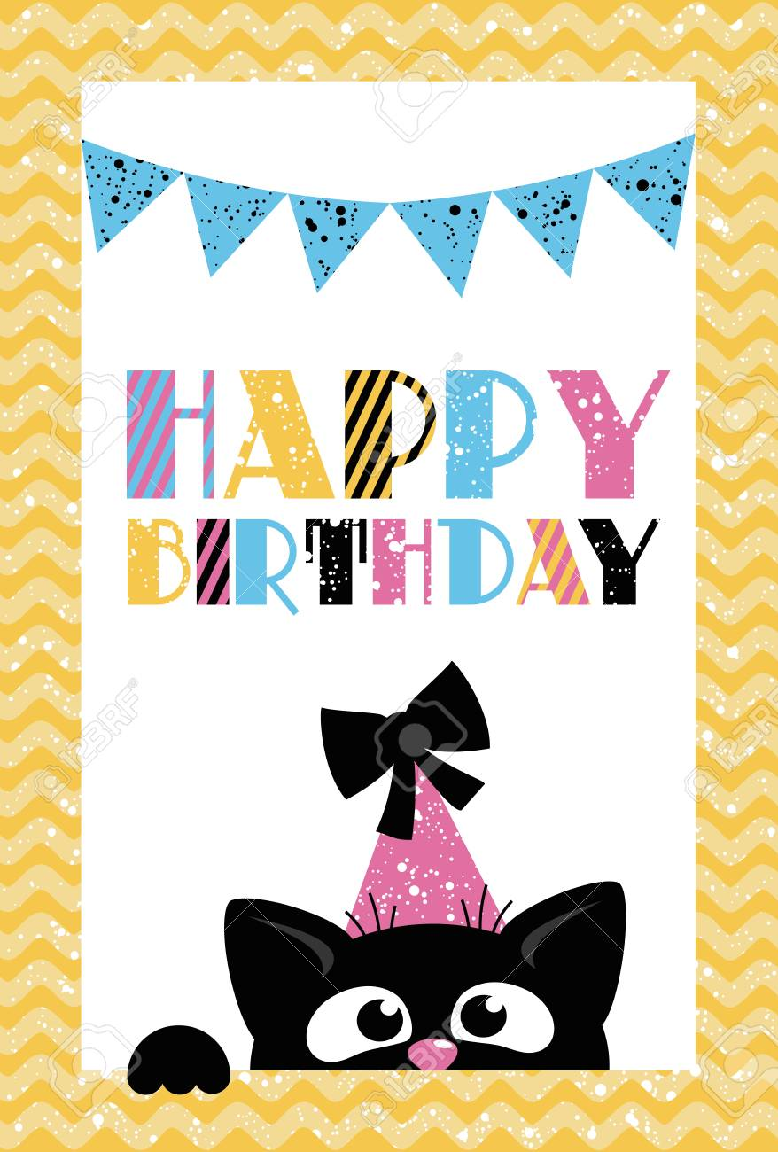 Happy Birthday Card For Party Invitation Template Vector Illustration Stock