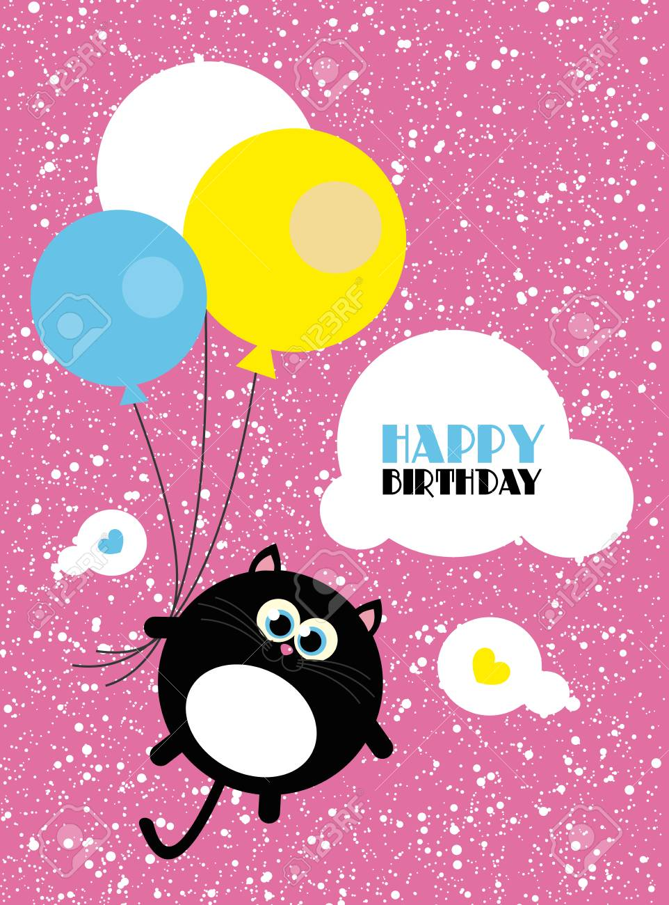 Cute Creative Cards Templates With Happy Birthday Theme Design Hand Drawn Card For