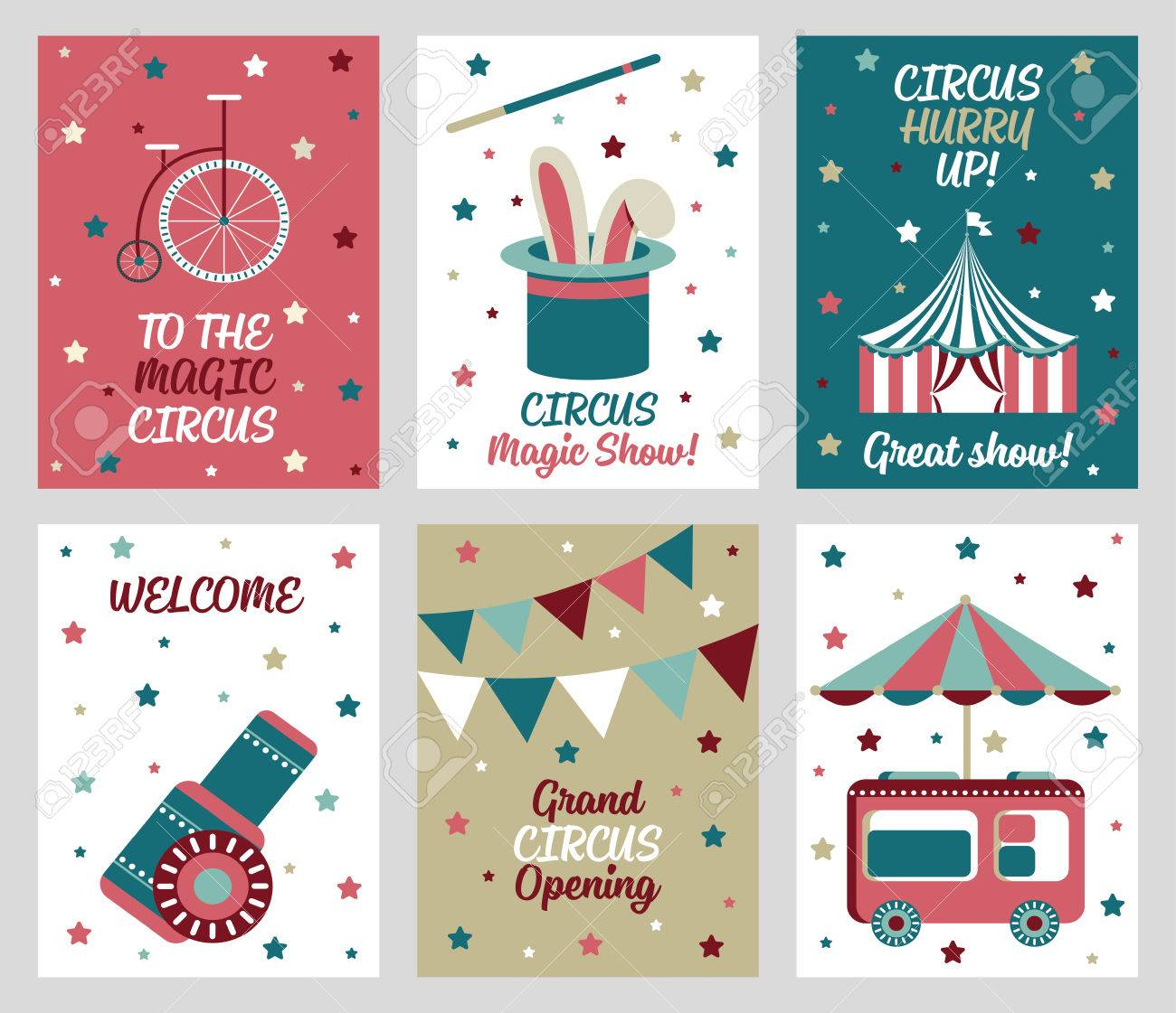 Set Of 6 Cute Creative Cards Templates With Circus Theme Design ...