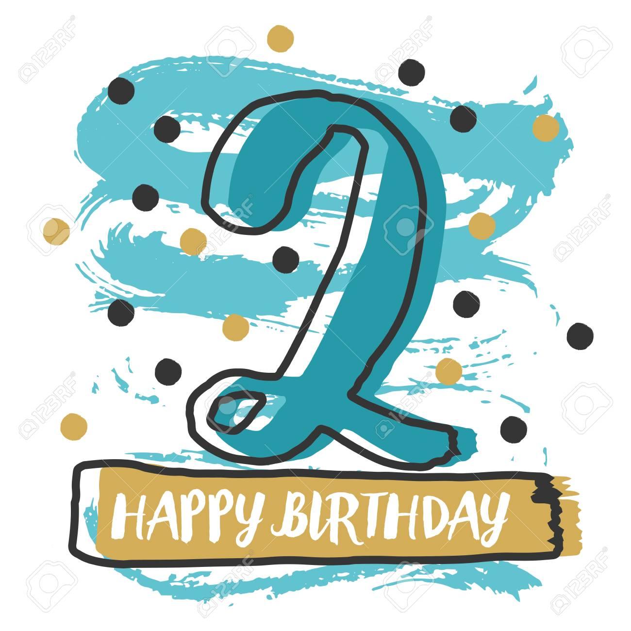 Happy Birthday Number 2 Vector Illustration