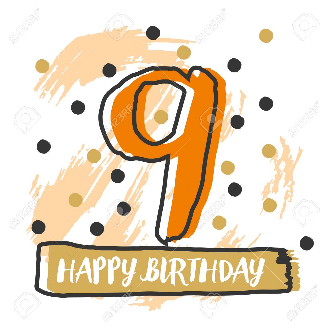 happy 9th birthday vector illustration royalty free cliparts